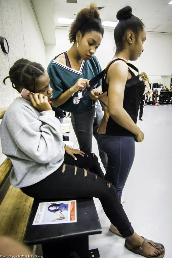 Adjustments: Bree Dorsey, Nia Towe, Taylor Edwards - in studio for Josephine Baker (Nia and Taylor are two of the Josephines at each stage of her life)