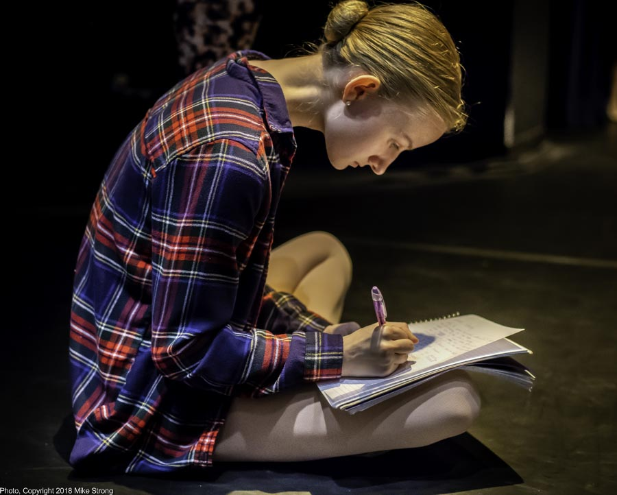 Alice - A dancer's activitiy, taking dance notes during tech