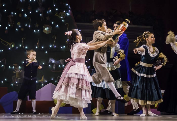Photo by Mike Strong (kcdance.com) - Fritz (Theo Muhammed) grabs the Nutcracker doll from Clara (Elise Johnson, 2 pm)