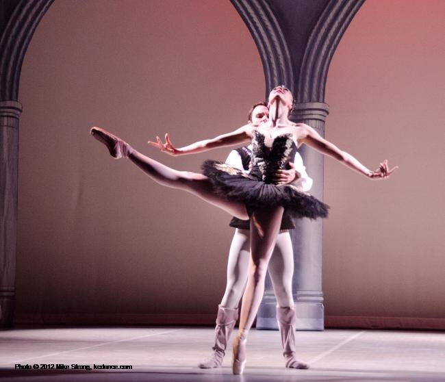 Emily Tatham (Black Swan at 2pm) with Erik Sobbe - Swan Lake by the American Youth Ballet (of American Dance Center in Overland Park, KS) May 12, 2012 - photo Mike Strong