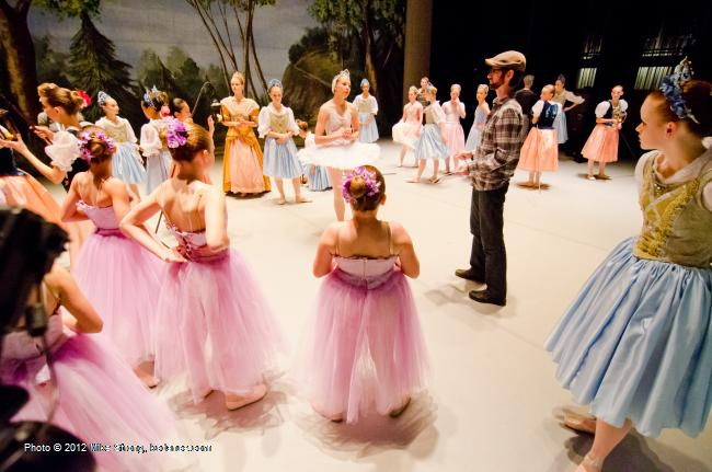 Kristopher Estes-Brown exhorts his troops before performing - Swan Lake by the American Youth Ballet (of American Dance Center in Overland Park, KS) May 12, 2012 - photo Mike Strong