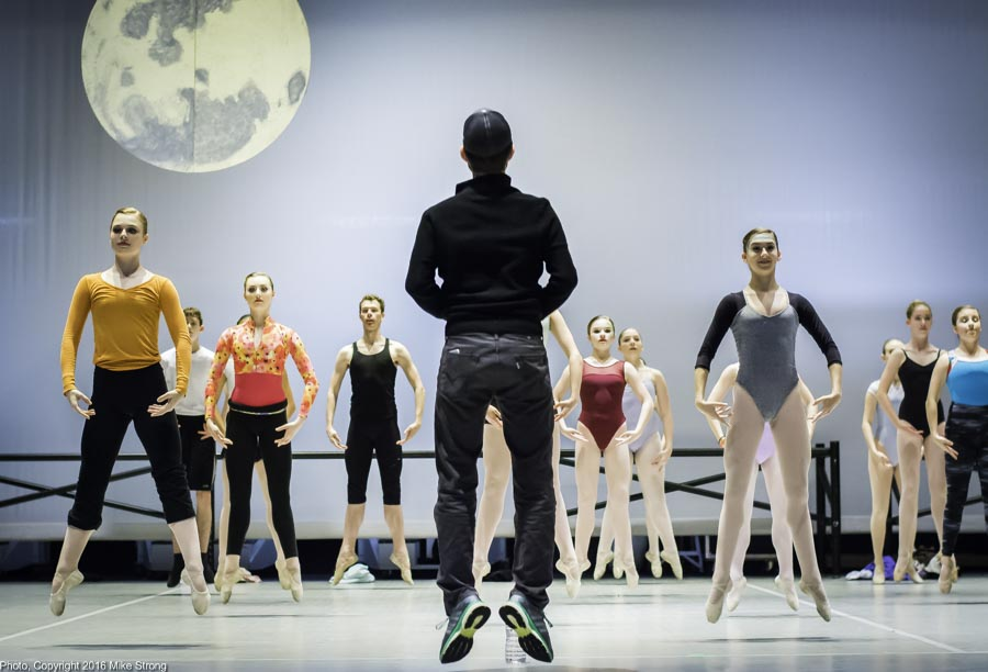 Director, Choreographer Kristopher Estes-Brown leads on stage 4 pm class prior to Friday's dress rehearsal, here doing échappé sautés