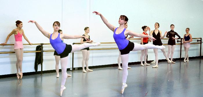 Tudor class in KC Ballet School's summer intensive. Here I've stitch two shots of the same ballerina (from Webster) in Arabesque. She is not twins.