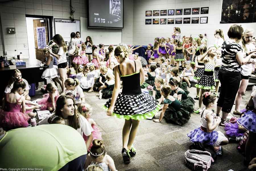 "Wednesday performance for Roxanne Higbee's In the ""green"" room getting ready to go on stage for Dancerz Spring 2016 concert Recital-I (youngest dancers) in Rose Theater at Rockhurst HS. Photo, Copyright 2016 Mike Strong, www.kcdance.com"