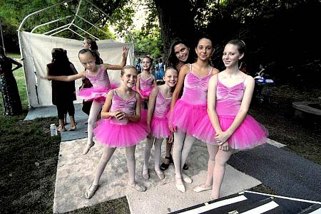 Kim Shope poses with some of her dancers before the first performance of the evening at Dance in the Park 2007