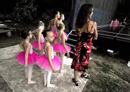 Kim Shope with her dancers ready to go on as the first group at Dance in the Park 2007 - the last year for her Midtown School of Dance performers
