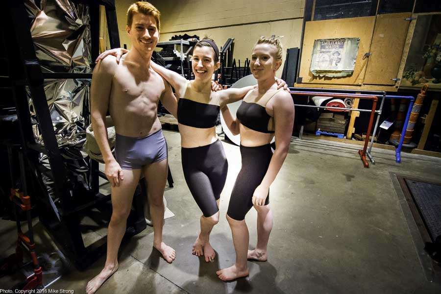 Backstage during tech waiting for Grey by Winston Dynamite Brown - L-R: David Calhoun, Alexandria Brant, Makenna Dowling