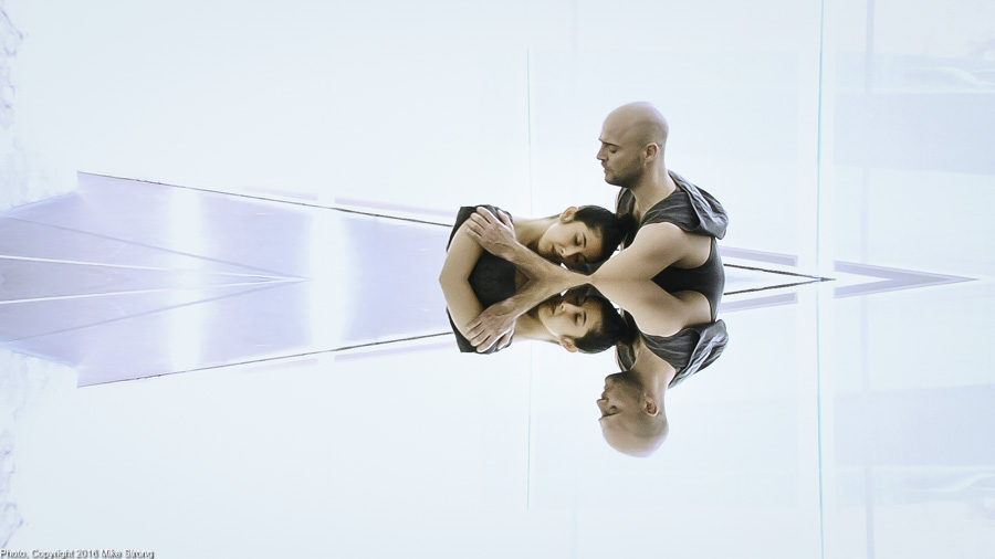 Laura Gutierrez and Szabi Pataki in Relic by Jonah Bokaer - video capture with mirror