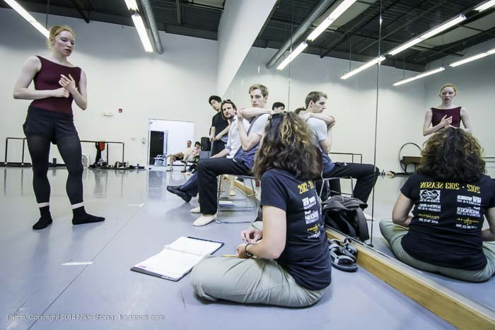 Abigail Sheppard (left) talks with stage manager (seated) Melinda Dobson. Behind and Yoshi, Logan, Gabriel - studio rehearsal