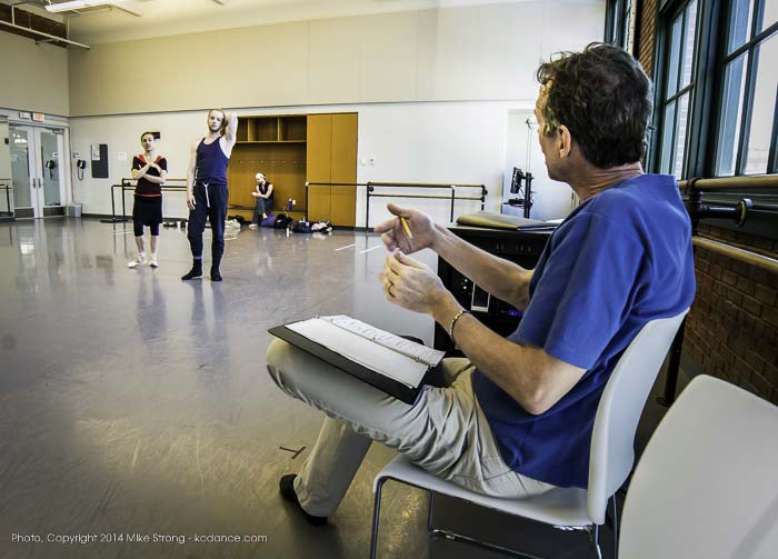 "James Jordan (KCB ballet master) giving notes to Tempe Ostergren and Craig Hall in ""The Still Point"" by Todd Bolender - KCDF 2014 is dedicated to Bolender's Memory. James was a caretaker for Todd archivalist of Todd's works, including The Still Point - Bolender Center studio rehearsal"
