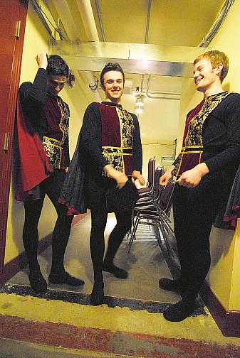 Sam Lopp, Erik Sobbe and Mike Tomlinson dressed as guards for the spring 2008 Kansas City production of Romeo and Juliet (Choreography Ib Anderson, Music Sergei Prokofiev)
