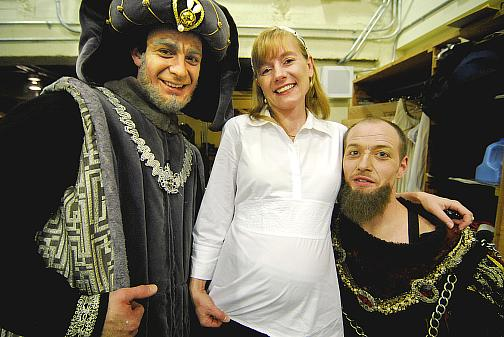 (left) Ben Biswell (as the Prince of Verona) and (right) Matt Carney (as Lord Montague, sans hat so far) with associate ballet mistress Lisa Thorn for the spring 2008 Kansas City production of Romeo and Juliet (Choreography Ib Anderson, Music Sergei Prokofiev)