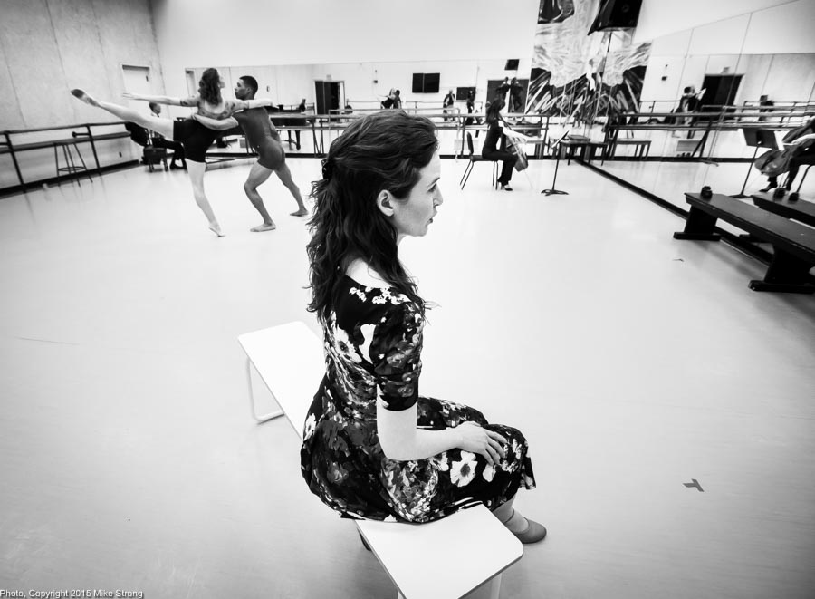 Stephanie Meyer (front) studio rehearsal with (in back) Phoebe Perry, DaJuan Johnson, Qizhen Liu