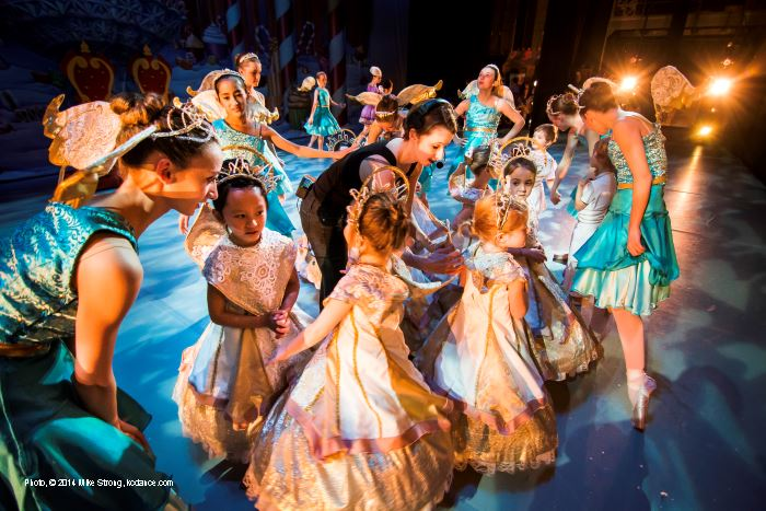 AYB company dancers along with Jennifer Tierney (center) work with the smallest dancers dressed as cherubs.