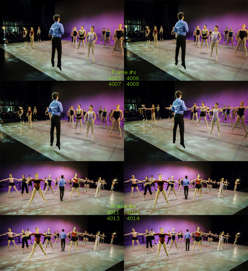 Company Class Saturday afternoon before the 7pm show, doing échappé sautés (way tougher jumping jacks for dancers). Check the camera frame numbers to see the company's consistency, first as Kristopher Estes-Brown leads from the front, then walks into the company.