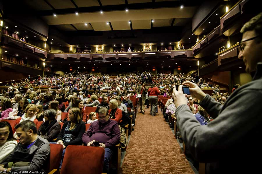 Lance Harshbarger taking a picture of the chock-full house for the Sunday 2 pm performance
