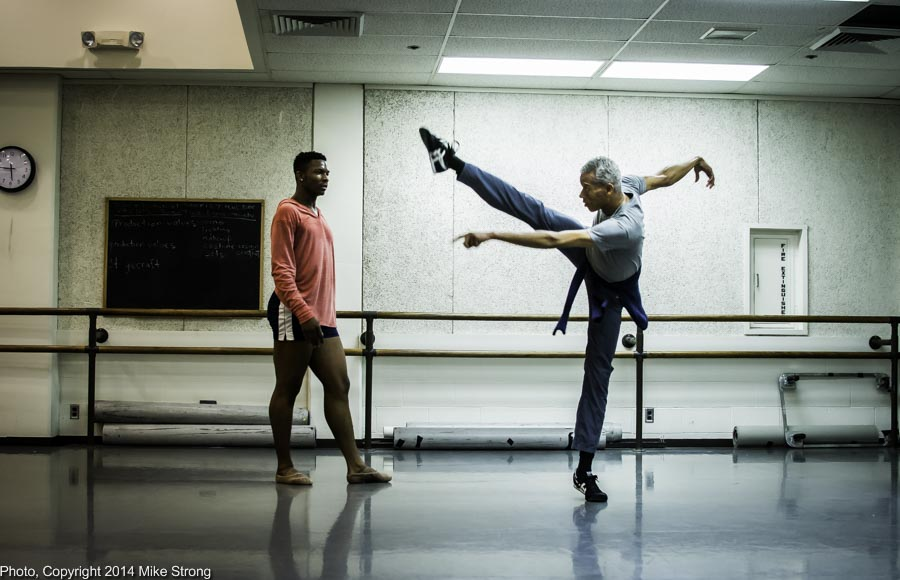 New Dance Partners 2015 at JCCC (Sept) - Wylliams-Henry and Twisted Metal - Studio rehearsal - Choreographer Gregory Dawson (right) demonstrates for John Swapshire (left)