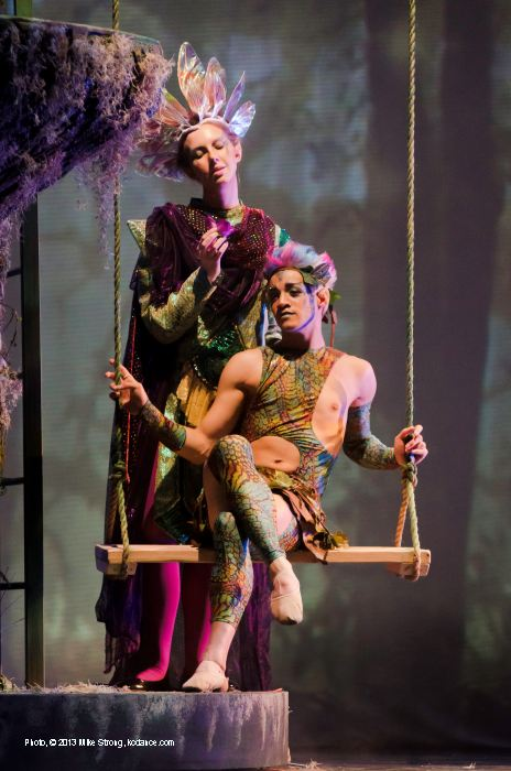 Rachael Colman (Oberon), Mark Gieringer (Puck, on swing)