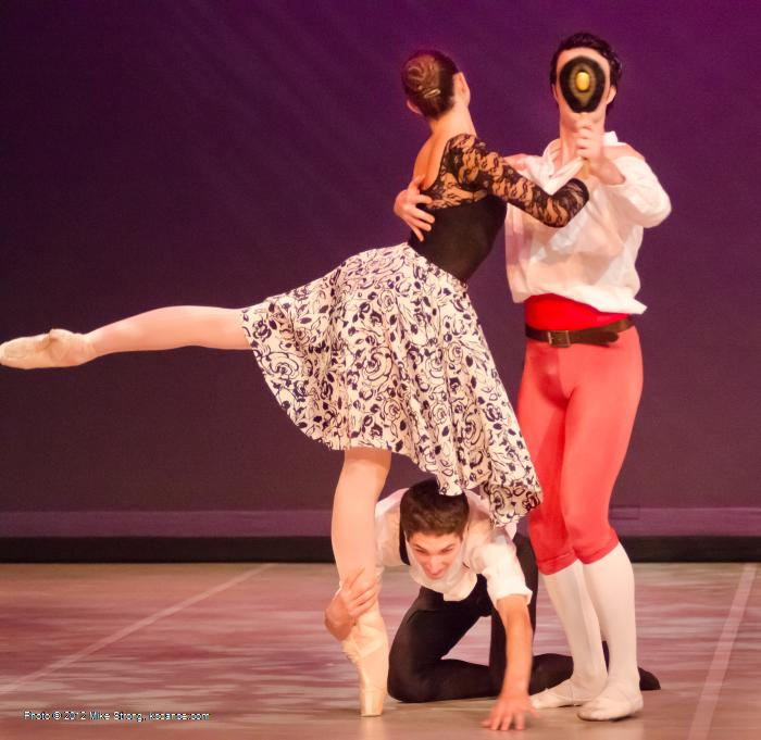 Taylor Arel (left), Alex Kingma (below), and Austin Finley with mirror in comic ballet La Ventana