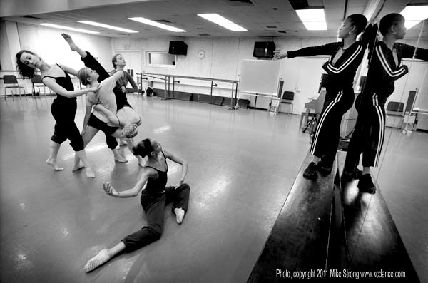 Rehearsal for Bittersuite in jazz studio (PAC 108) to Ne Me Quitte Pas by Jacques Brel - sung by Nina Simone - Sabrina Madison-Cannon directing (right). Dancers, L-R: Hannah Benditt, Linley Shaeffer, Brittany Murphy, Megan Squires (in pench�e, head down toward the left), Miyesha McGriff.
