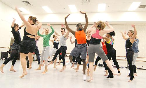 UMKC dancers in first rehearsal for Battlefield from Battleworks
