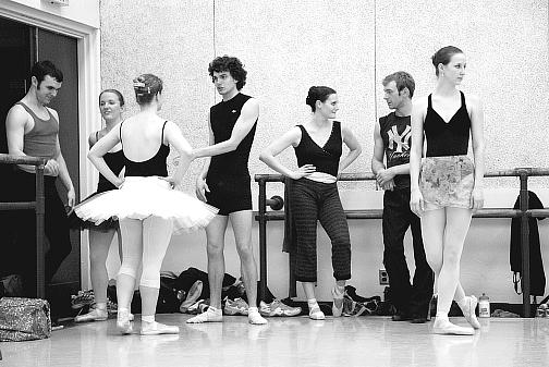 during rehearsals for Paquita April 2008 - Erik Sobbe, Stephanie Shipman, Angela Shipman, Will Smith, Maureen Duke, Ben Biswell, Ashley Zimmerman