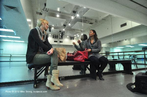 Costume designer Lisa Choules and rehearsal director Sabrina Madison-Cannon in studio 108