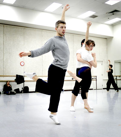 Studio Rehearsal for Les Oiseaux. Josh Beamish works out and models a movement as