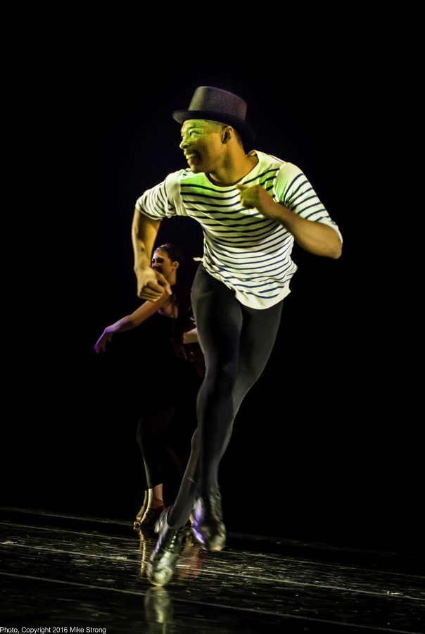 "DaJuan Johnson tap dancing in ""Mata Hari"" by Ronn Tice and DeeAnna Hiett"