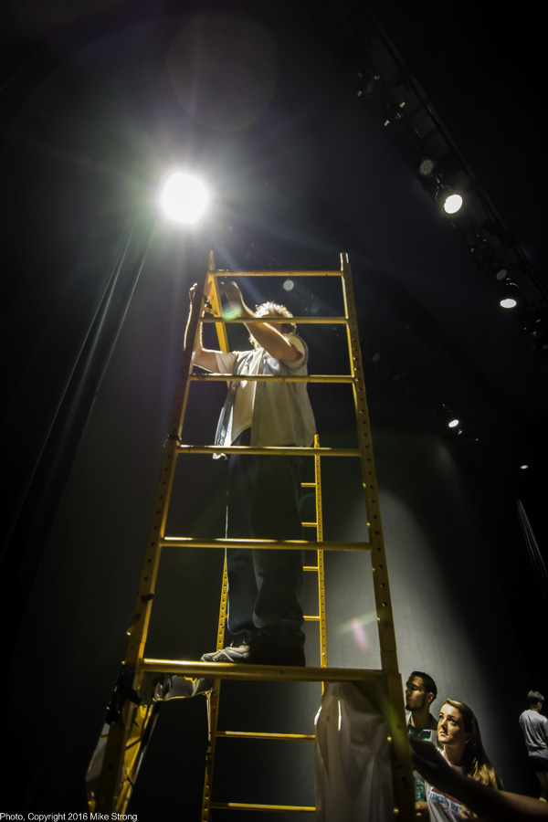 Breaking down the construction scafolding used as a prop for Mata Hari. That is Ronn Tice up top.
