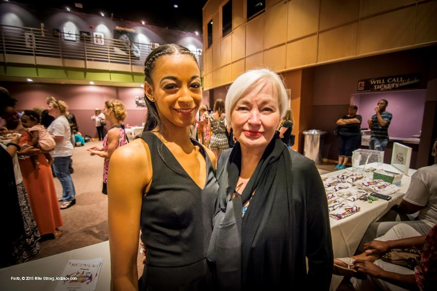 Chloe Abel (Cleo Parker Robinson dancer and UMKC grad) and her mother, Linda, in the lobby of The GEM