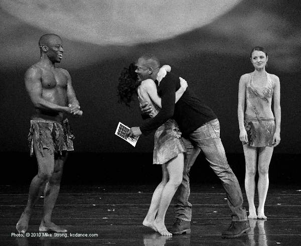Gary Abbott, Associate Director of Deeply Rooted, in from Chicago hugs Kathleen Turner after the performance of his piece, Desire. Left is Telly Fowler and right is Skyler Taylor