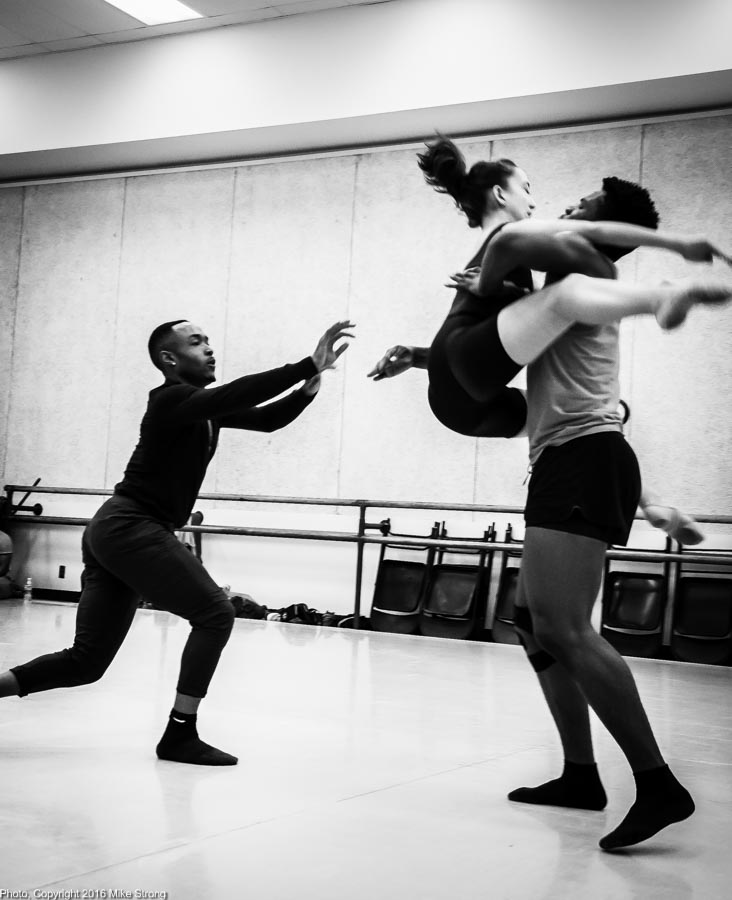 Studio rehearsal for Ensuing by DeeAnna Hiett. William Roberson throws Hannah Wagner to John Swapshire