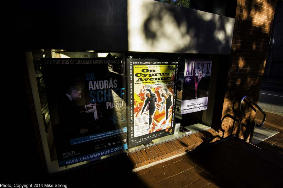 Outside the west window of the Folly's lobby, next to the ticket booth with the show's poster in a beam of sunlight between pianist Sir Andras Schiff (Oct 16) and Ailey II (Oct 7-10th)