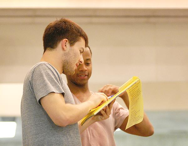 21-year old choreographer Josh Beamish (left) and veteran dancer Christopher Barksdale, during notes Sunday - rehearsal and run through of Trap Door Party - short version - photo Mike Strong kcdance.com