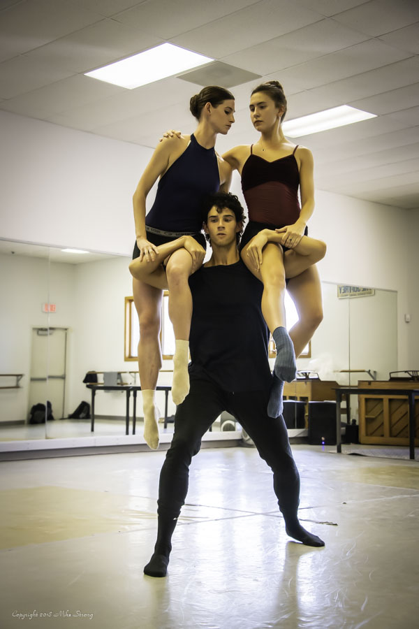 Ransom Wilkes-Davis carrying Kristen Marshall and Malerie Moore (studio rehearsal) in Alibi by Concept Zero.