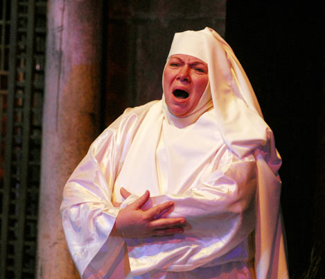 (photo / copyright Mike Strong, kcdance.com) Suor Angelica (Ivalah Allen) mourns for the child she had before being consigned to a convent because of the pregnancy - directed by Marciem Bazell